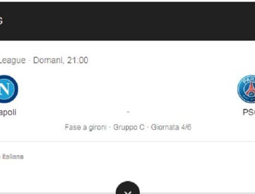 Dove vedere Napoli-PSG in streaming e diretta live tv - Journeydraft